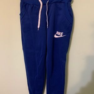 Royal blue and white nike joggers